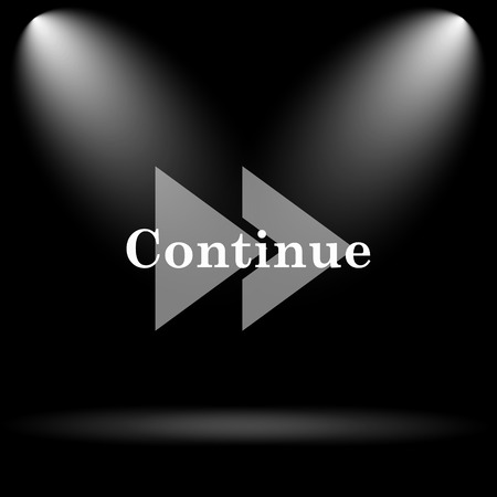continue: Continue icon. Internet button on black background.