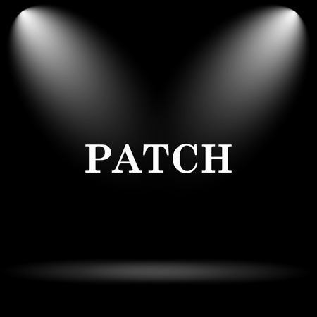 patch: Patch icon. Internet button on black background. Stock Photo