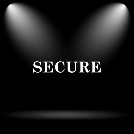 secure icon: Secure icon. Internet button on black background.