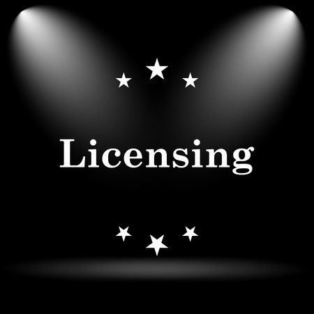licensing: Licensing icon. Internet button on black background.