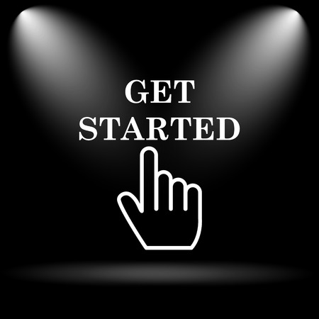 Get started icon. Internet button on black background.