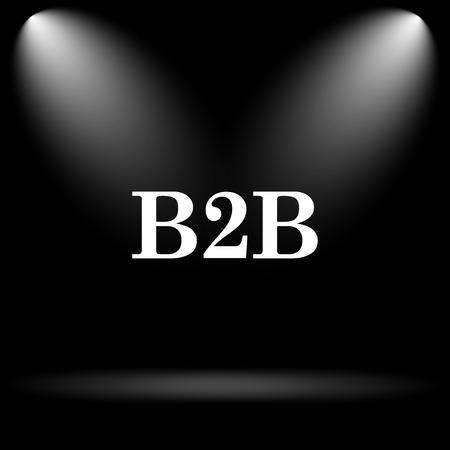 b2b: Icono de B2B. Bot�n de internet sobre fondo negro. Foto de archivo