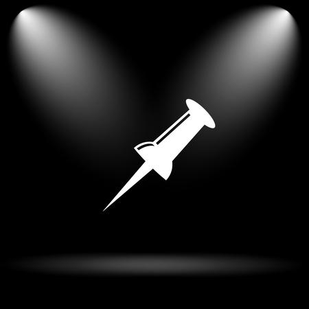 prick: Pin icon. Internet button on black background.