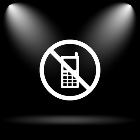 use regulations: Mobile phone restricted icon. Internet button on black background.