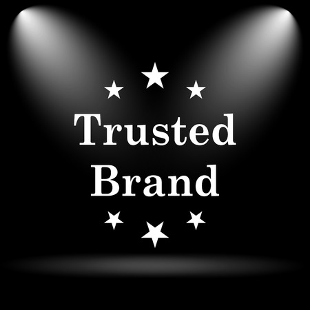 trusted: Trusted brand icon. Internet button on black background.