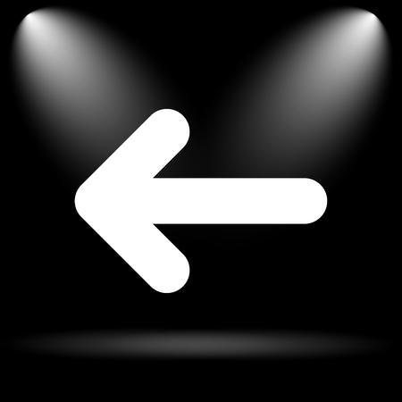 black button: Left arrow icon. Internet button on black background.
