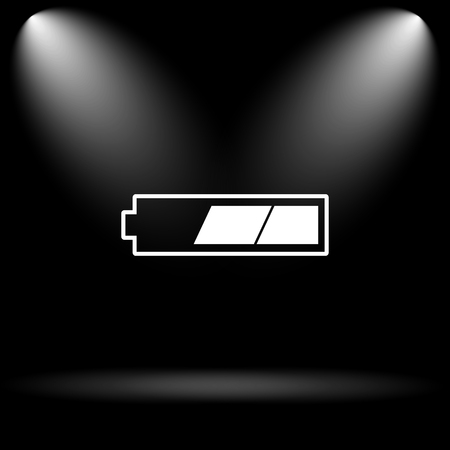 button batteries: 2 thirds charged battery icon. Internet button on black background. Stock Photo