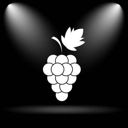 black grape: Grape icon. Internet button on black background.