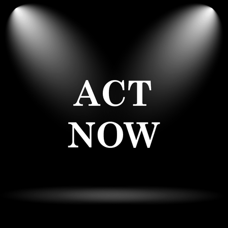 act: Act now icon. Internet button on black background.