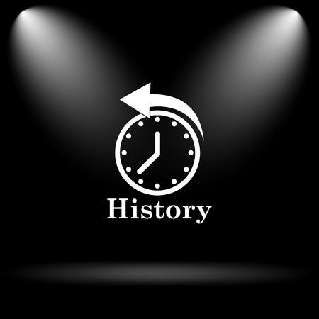 revolve: History icon. Internet button on black background.