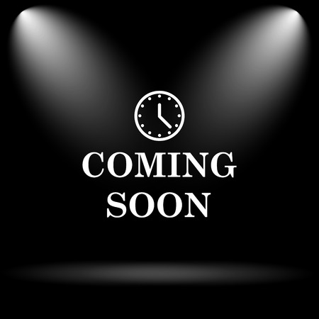 Coming soon icon. Internet button on black background. Imagens - 45221983