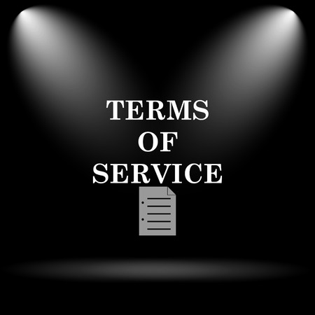 terms: Terms of service icon. Internet button on black background.