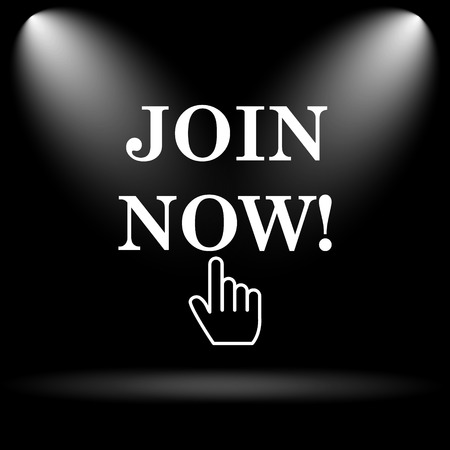 join now: Join now icon. Internet button on black background. Stock Photo