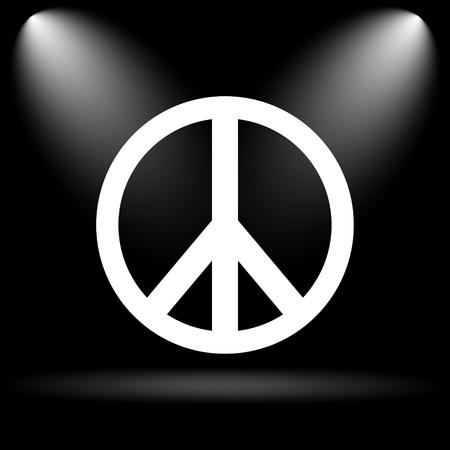 antiwar: Peace icon. Internet button on black background. Stock Photo