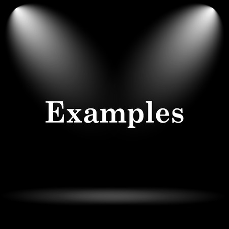 examples: Examples icon. Internet button on black background. Stock Photo