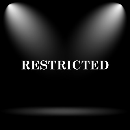 restricted icon: Restricted icon. Internet button on black background.