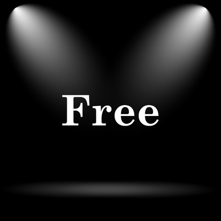 gratuity: Free icon. Internet button on black background. Stock Photo