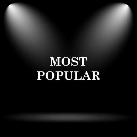 most popular: Most popular icon. Internet button on black background.