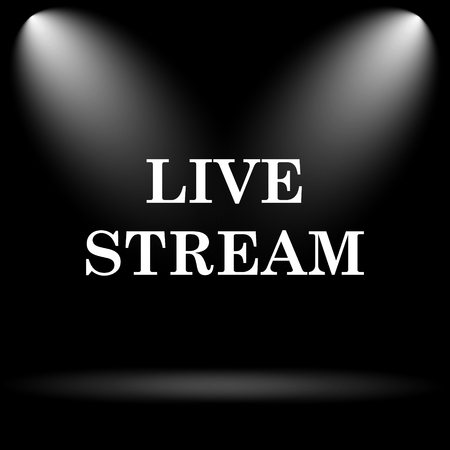 live stream button: Live stream icon. Internet button on black background.