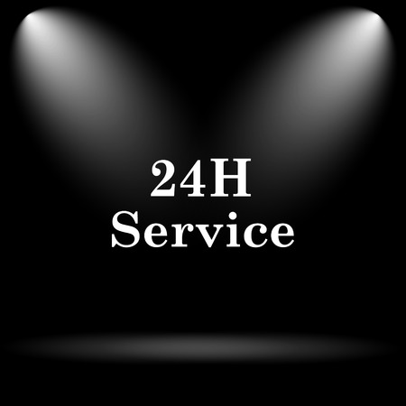 aftersale: 24H Service icon. Internet button on black background.