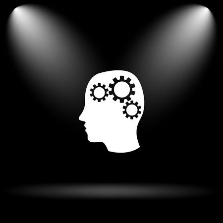 concentration gear: Brain icon. Internet button on black background.