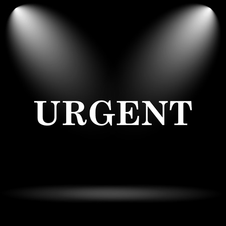promptness: Urgent icon. Internet button on black background. Stock Photo