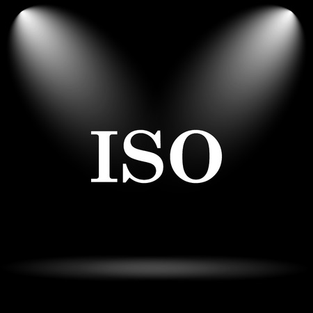 norm: ISO icon. Internet button on black background. Stock Photo