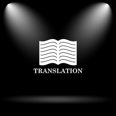 Translation book icon. Internet button on black background. Stock Photo