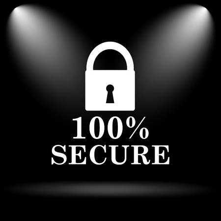 trusty: 100 percent secure icon. Internet button on black background.