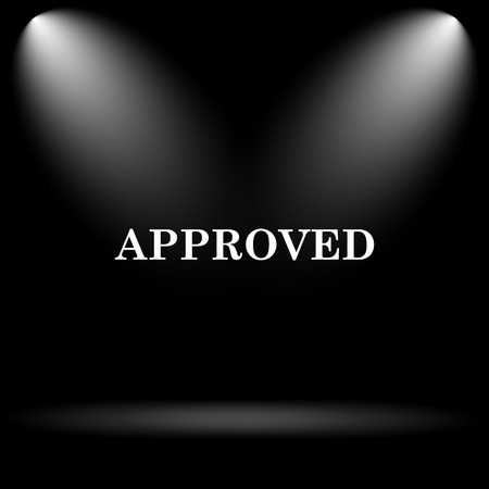 proceed: Approved icon. Internet button on black background.