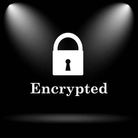 encrypted: Encrypted icon. Internet button on black background.