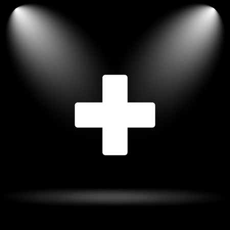 black button: Medical cross icon. Internet button on black background.