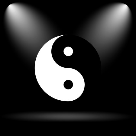 karma concept: Ying yang icon. Internet button on black background.