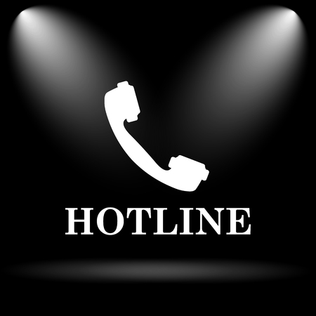 hotline: Hotline icon. Internet button on black background.