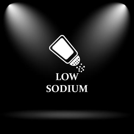 si�o: Low sodium icon. Internet button on black background. Banco de Imagens