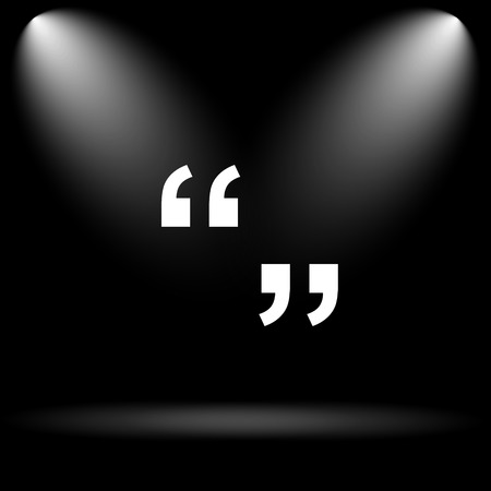 quotations: Quotation marks icon. Internet button on black background. Stock Photo