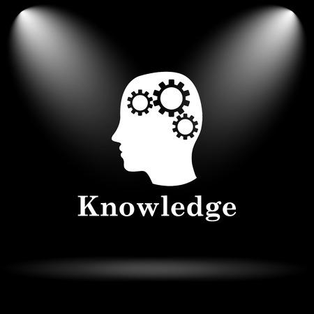 knowledge: Knowledge icon. Internet button on black background. Stock Photo