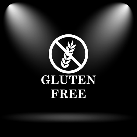 inspected: Gluten free icon. Internet button on black background. Stock Photo