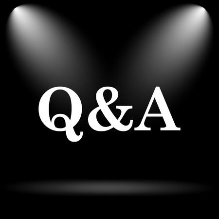 qa: Q&A icon. Internet button on black background. Stock Photo