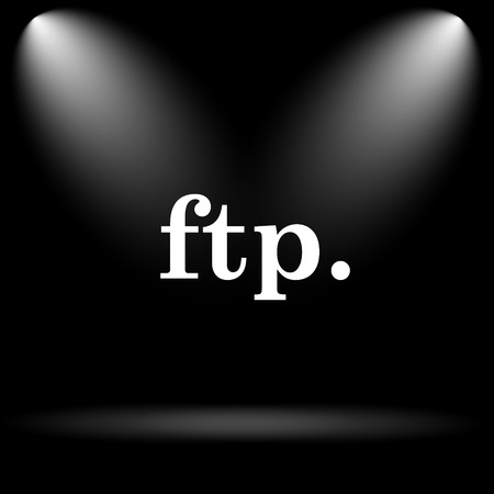 ftp: ftp. icon. Internet button on black background.