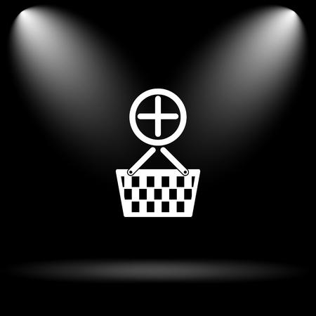 add to basket: Add to basket icon. Internet button on black background.