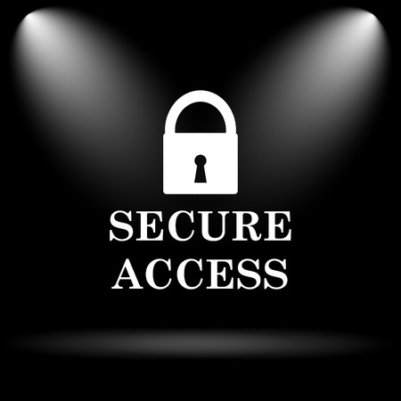 secure: Secure access icon. Internet button on black background.