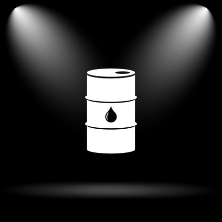steel drum: Oil barrel icon. Internet button on black background. Stock Photo