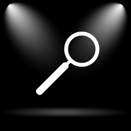 seeking: Search icon. Internet button on black background. Stock Photo