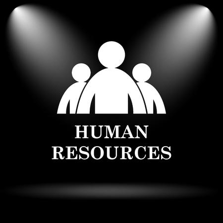 obra social: Recursos Humanos icono. Botón de internet sobre fondo negro.