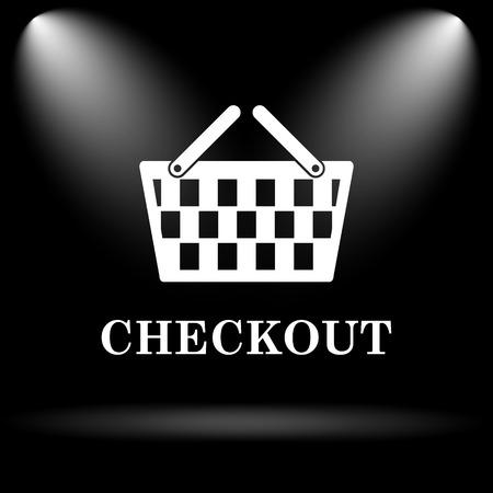 checkout button: Checkout icon. Internet button on black background.