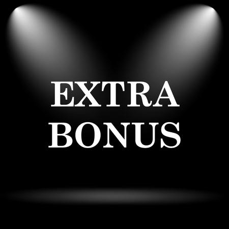 extra cash: Extra bonus icon. Internet button on black background.