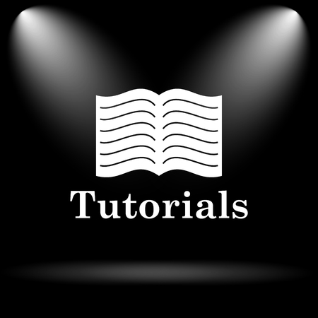 tutoriels: Tutorials icon. Internet button on black background.