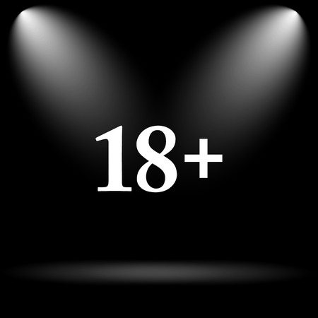 information technology law: 18 plus icon. Internet button on black background.