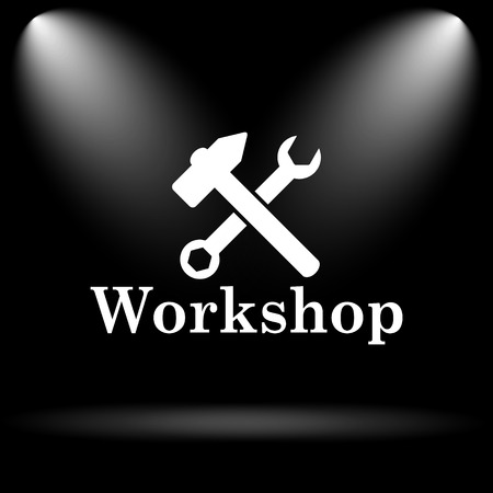 workshop: Workshop icon. Internet button on black background.